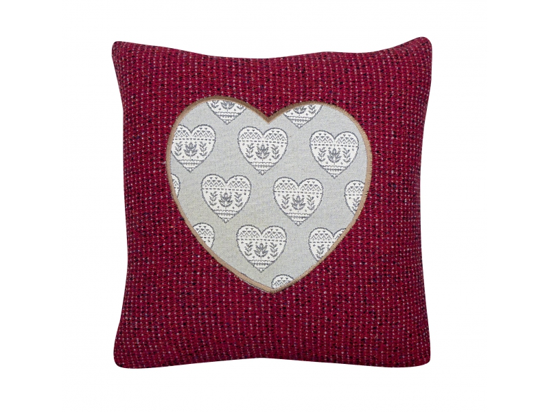 Cuscini in lana con applique a cuore in tessuto jacquard u bemass