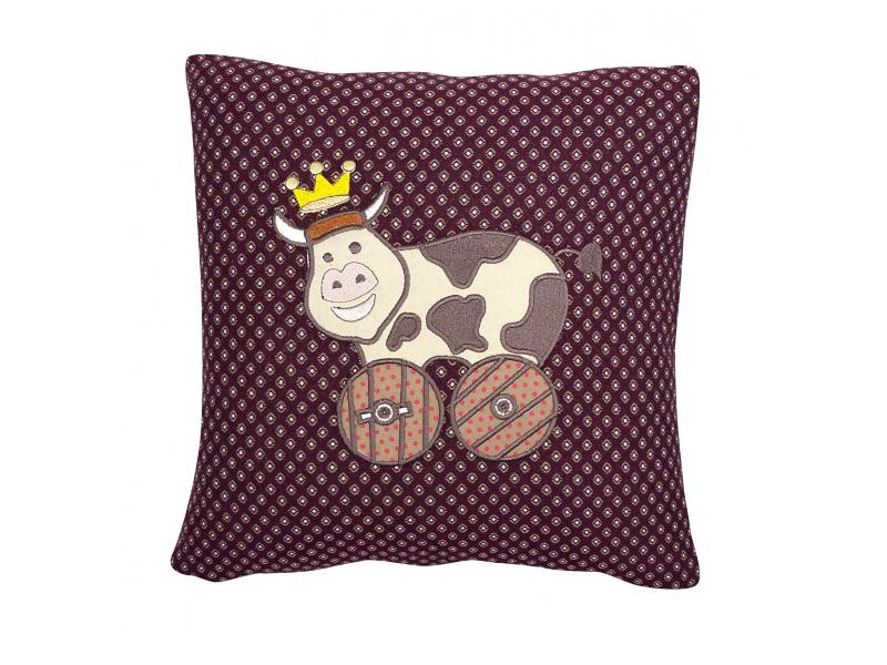 Cuscino in tessuto jacquard con applique mucca in stoffa francese